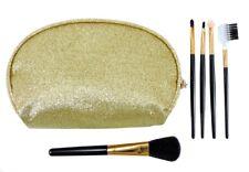 LE KIKKE Astuccio Beauty + 5 Pennelli Make Up Trucco Set Porta trucchi ORO