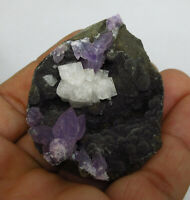 New find! Dog tooth crystals of purple amethyst on chalcedony - India # 5919