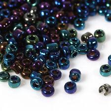50g Purple/black AB Seed Beads Glass 2mm Size 11/0 J08643xa