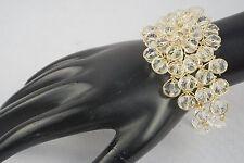 Hand Woven Women Girl Bracelet Gold Plated Wired Swarovski Crystal Beaded Stone
