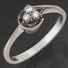 Retro Vintage 1970's Solid 18k WHITE GOLD 3 DIAMOND TRLOGY CLUSTER RING Sz N1/2