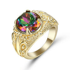 Size 8 Band Rainbow Topaz 10K yellow Gold Filled Men's Wedding flower Ring Gift