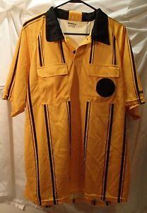 Soccer Referee Short Sleeve Yellow Jersey Mens Sz L KwikGoal Ref Shirt