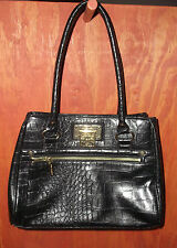 ANNE KLEIN Black Alligator Alley Satchel Tote Handbag
