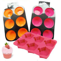 6 Silicone Muffin Mould Cup Cake Cupcake Baking Pan Tray Non Stick Mold Bakeware
