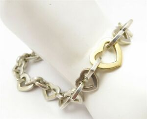 Tiffany & Co. 2000 Sterling Silver & 18K Yellow Gold Heart Link Bracelet 8""