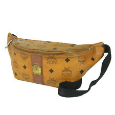 Auth MCM Vintage Logos Monogram Leather Waist Pouch Fanny Pack Bum Bag 5560bkc