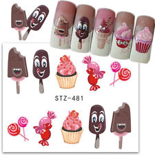 Nail Art Water Decals Transfers Stickers Summer Ice Cream Cupcakes Candy (481)