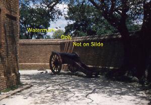 1957 Jamestown Settlement Fort James Portable Cannon  Red Border 35mm Slide