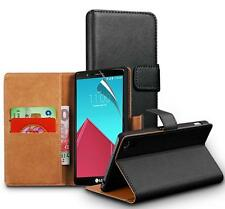 Luxury Genuine Real Leather Flip Wallet Cover & Screen Guard For LG G4C