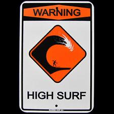 Warning High Surf Us Made Metal Street Sign Beach Bar Pub Surf Shop Wall Decor