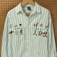 vtg 1997 LOONEY TUNES shirt LARGE embroidered patches 90s daffy bugs taz tweety
