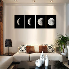 4PCS Moon Lunar Phase Change Unframed Home Decor Canvas Frameless Oil Painting