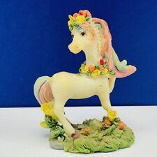 Unicorn figurine rainbow horse stallion mythical sculpture resin vintage floral