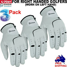 Mens Golf Gloves 3Pack Cabretta Leather New Size Left Hand Lh Rh All Weather AU