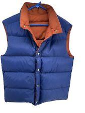 Vintage 70s EMS Insulated Goose Down Reversible Vest Blue Orange Large