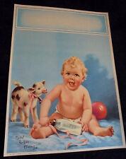 Mabel Rollins Harris, Baby, Cow Ball, Salesman Sample Large Calendar Print 1950s