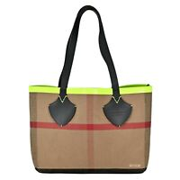 NWT Authentic Burberry Medium Reversible Canvas Check Bonded leather Neon Tote