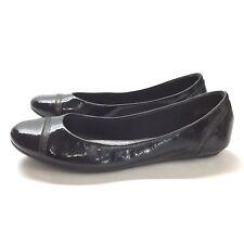 Coach and Four Ballet Flat Shiny Black Round Toe Sz 8 1/2 Slip On Shoes
