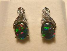 Opal Earrings Sterling Silver & CZ Stud Natural Triplet Opals 10x8mm Oval 070842