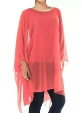LADIES CHIFFON LINED OVERSIZED BLOUSE TOP WOMENS BATWING A-LINE TUNIC LOOSE FIT