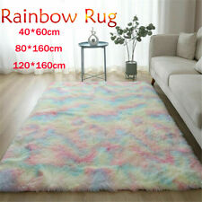Rainbow Rugs Fluffy Plush Floor Carpet Non-slip Playing Mat Bedroom Home Decor