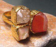 Gold plated brass Herkimer/carnelian/Ethiopian opal ring UK L/US 5.75-6.