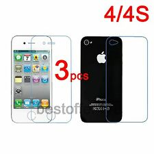 6=3 Front + 3 Back Clear Screen Protector Guard Cover Film for Apple iPhone 4 4S