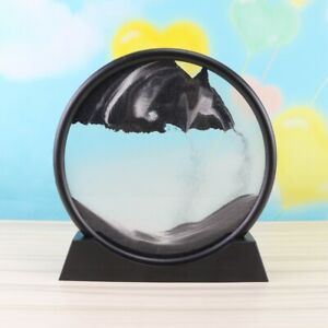 Moving Sand Art Picture Round Glass 3D Sandscape in Motion Display Decor Gift