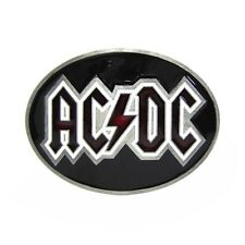 Pewter AC DC Music Oval Belt Buckle Mens Vintage Cool Rock Roll Logo Black White