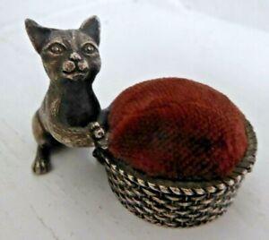 Vintage Pewter Cat and Basket Pin Cushion