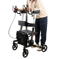 Upright Stand Up Folding Rollator Walker with Seat Aluminum Rollator Walker USA