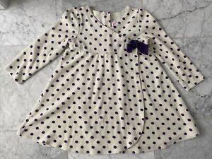 Gymboree White Purple Polka Dot velour dress 5T