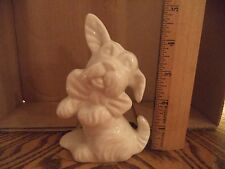 Vintage Pottery White Scottie Dog Scottish Terrier Figurine Bow Tie Floppy Ears