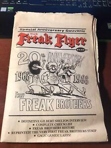 The Freak Flyer 20th Anniversary underground newspaper 1988 Gilbert Shelton Rare