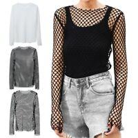 Women Tops Ladies Casual Mesh Fish Net Long Sleeve Scoop Neck T-Shirt Blouse top