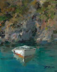 "Original Fine Art Painting by Italian Artist Raimondo Roberti  titled ""Cast Off"""
