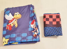 """MARIOKART """"Eat My Dust"""" Mario Luigi Fitted Sheet and Pillowcase, Twin - PreOwned"""
