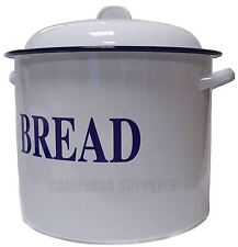 FALCON WHITE ENAMEL ROUND BREAD BIN WITH LID 28CM - RETRO TRADITIONAL