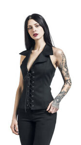 Gothicana by EMP- Dita Black Top -Front Lacing -Size M- NEW-RRP£29.99
