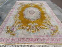 Vintage Hand Made Traditional Oriental Yellow Gold Wool Large Carpet 370x260cm