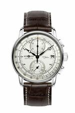 Zeppelin Watch 100 Years Chronograph Stainless Steel Leather Strap Black 8670-1