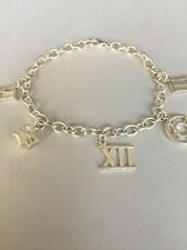 """Sterling Silver Link Bracelet w/ Roman Numeral Charms, 11.33 Gms, 7"""""""