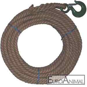 Hanf-Seil 18mm / 10m 20m 30m 40m 50m mit Last-Haken Handaufzug-Seil Flaschenzug