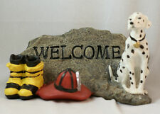 Fire Fighter Dalmatian Welcome Stone Garden Resin Figurine Dog Hat Boots #15039