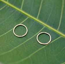 Nose Ring Hoops-Helix-Tragus Earrings ONE PAIR 14k Solid Yellow Gold 24g 7mm