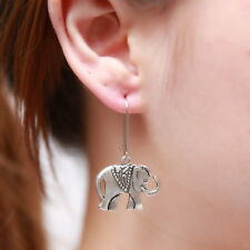 Retro Genuine Handmade Tibetan Silver Cute Elephant Drop Earrings Stud Jewelry