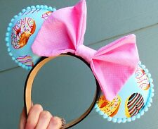 Fun Food Donut Mickey mouse ears headband-pink bow, quirky and adorable, pom pom