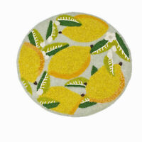 "Lemon Tree Juicy Yellow Lemons Beaded Round 15"" Diameter Charger Placemat"