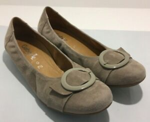 Gabor ladies Taupe Suede Leather Buckle Detail Comfort Shoe Flats Size 7.5